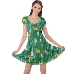 Green Trees Cap Sleeve Dress by CoolDesigns