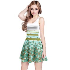 Olivestripesmint Sleeveless Skater Dress by CoolDesigns