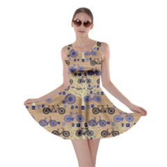 Beige Retro Bicycle Pattern Skater Dress  by CoolDesigns