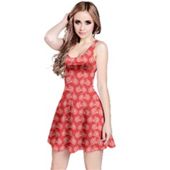 Red Vintage Bicycles Outline Pattern Sleeveless Dress by CoolDesigns