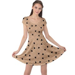 Beige Happy Valentines Pattern Cap Sleeve Dress