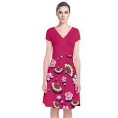 Blossom Red Japanese Style Cherry Blossom Short Sleeve Front Wrap Dress by CoolDesigns