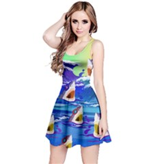 Sharks In Sea Reversible Sleeveless Dress by CoolDesigns