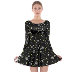 Dark Starry Night Long Sleeve Skater Dress by CoolDesigns