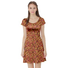 Brown Pattern Fallen Autumn Warm Shades Leaves Short Sleeve Skater Dress by CoolDesigns