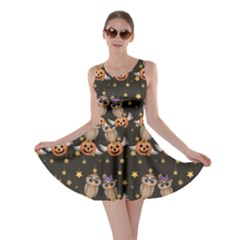 Black Halloween Two Cartoon Owls With Pumpkins Skater Dress by CoolDesigns