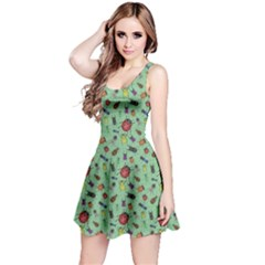 Green Color Bugs And Beetles Green Pattern Sleeveless Dress