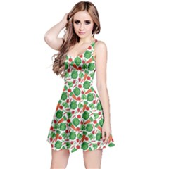 Green Vegetable Pattern Sleeveless Dress
