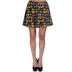 Black Set Of Funny Cartoon Animals Character On Black Zoo Skater Skirt by CoolDesigns