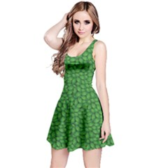 Green Green Basil Leaves In A Pattern Sleeveless Skater Dress by CoolDesigns