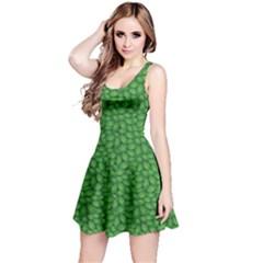 Green Green Basil Leaves In A Pattern Sleeveless Skater Dress