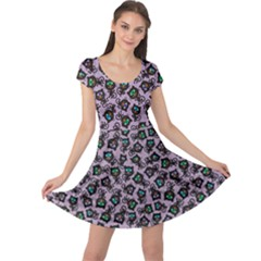 Purple Cute Monsters Cats Pattern Colorful Cap Sleeve Dress by CoolDesigns
