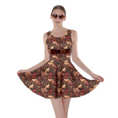 Red Pattern In The Russian Traditional Style Skater Dress