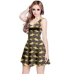 Brown Image Of Sharks And Underwater Masks Short Sleeve Skater Dress by CoolDesigns