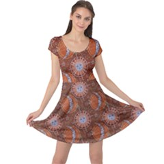 Brown Composition With Sun And Moon Cap Sleeve Dress