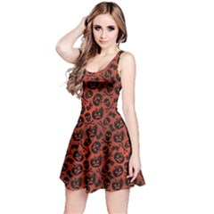 Brown Halloween With Pumpkin And Skeleton Pattern Sleeveless Skater Dress by CoolDesigns