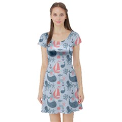 Blue Pattern With Cute Whales Sailing Octopus Short Sleeve Skater Dress