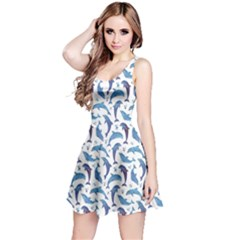 Blue Watercolor Pattern With Dolphins Sleeveless Dress
