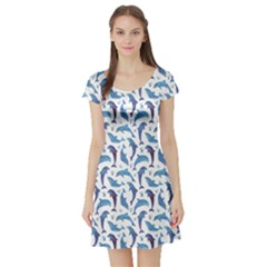 Blue Watercolor Pattern With Dolphins Short Sleeve Skater Dress