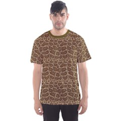 Brown Python Snakeskin Pattern Repeats Seamlessly Men s Sport Mesh Tee by CoolDesigns