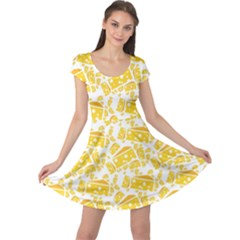 Yellow Cheese Pattern Cap Sleeve Dress by CoolDesigns
