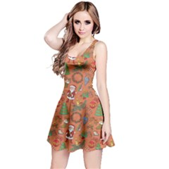 Colorful Winter Christmas Sketchy Pattern Reversible Sleeveless Dress by CoolDesigns