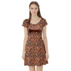Brown Pattern Steampunk Mechanism Metal Short Sleeve Skater Dress