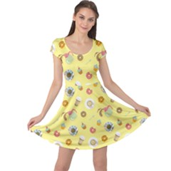 Yellow Bright Colorful Flat Pattern With Cups Of Black Coffee Cap Sleeve Dress