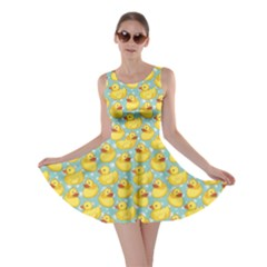 Green Pattern With Yellow Ducks Skater Dress