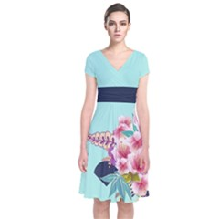 Mint Blossom Japanese Style Cherry Blossom Short Sleeve Front Wrap Dress by CoolDesigns