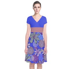 Blue Floral Short Sleeve Front Wrap Dress by CoolDesigns