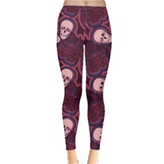 Skull Dull Red Leggings  by CoolDesigns