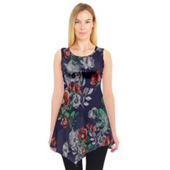 Navy Floral2 Sleeveless Tunic Top by CoolDesigns