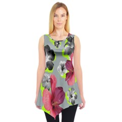 Gray Floral2 Sleeveless Tunic Top by CoolDesigns