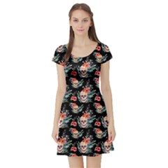 Black Skull Vintage Floral Short Sleeve Dress by CoolDesigns
