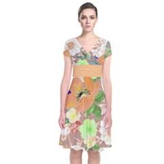 Mocha Floral Short Sleeve Front Wrap Dress
