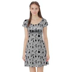 Black Cat Short Sleeve Skater Dress by CoolDesigns