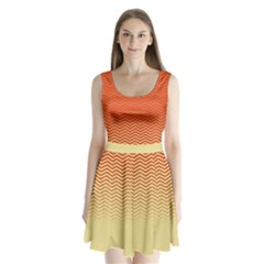 Orange Chevron Split Back Mini Dress  by CoolDesigns