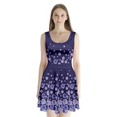 Dark Purple Floral Split Back Mini Dress  by CoolDesigns