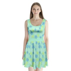 Mint Floral Split Back Mini Dress  by CoolDesigns