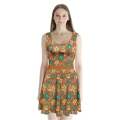 Brown Floral Split Back Mini Dress  by CoolDesigns