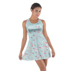 Flamingo Floral Blue Cotton Racerback Dress by CoolDesigns