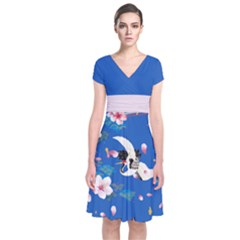 Crane Blue 2 Japanese Style Cherry Blossom Short Sleeve Front Wrap Dress by CoolDesigns