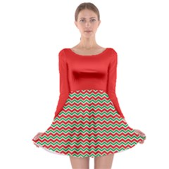 Xmas Zigzag Long Sleeve Skater Dress by CoolDesigns