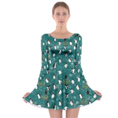 Turquoise Penguin Long Sleeve Skater Dress by CoolDesigns
