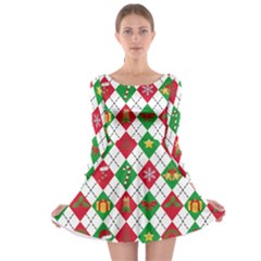 Xmas Diamonds Long Sleeve Skater Dress by CoolDesigns