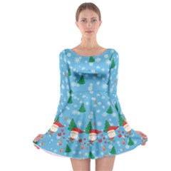 Light Blue Santa Long Sleeve Skater Dress