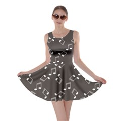 Black Music Elements Notes Web Flat Design Gray Pattern Skater Dress