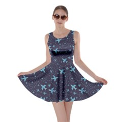 Blue Airplanes In The Night Sky Pattern Skater Dress by CoolDesigns