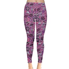 Purple Pattern With Sweet Food Cakes Chocolate Icecream Women s Leggings by CoolDesigns